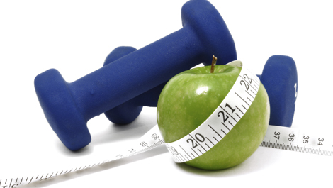 Blue Weights, Green Apple, and Tape Measure